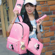 8Pcs Cute Animal Star Printing Backpack Women Canvas Backpack School Bags For Teenagers Girls