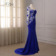 ADLN Royal Blue Mermaid Evening Dresses One Long Sleeve Sweep Train Applique Crystals Formal Dress