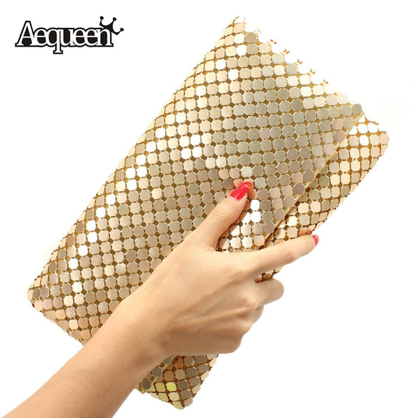 AEQUEEN 12 Colors Women Day Clutches Evening Bag Aluminum Mesh Envelope Flap Bags Sequined Long