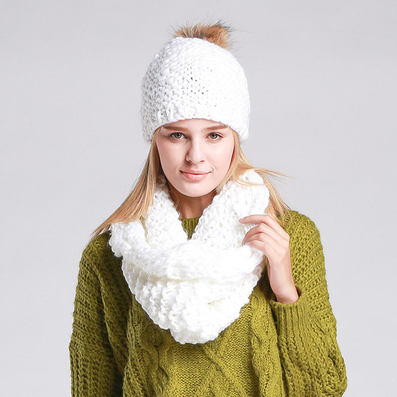 AETRENDS  High Quality Winter Caps with Scarves Knitted Sets Women Be –  Beal  72571149b95