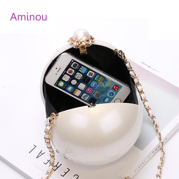 AMINOU Women Round Bag Acrylic Clutch Pearl Purse Handbag Mini Bolsa Redonda Ladies Evening Party