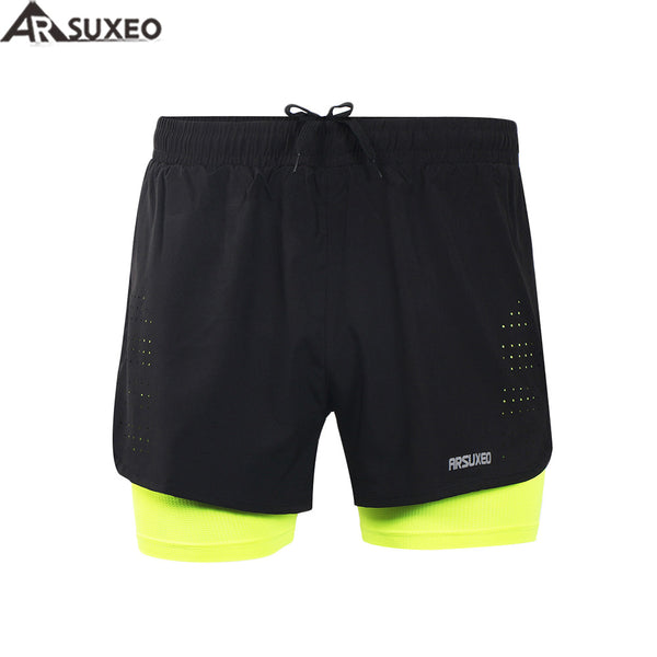 "ARSUXEO 2017 Mens Sports 3"" Running Shorts Active Training Exercise Jogging 2 in 1 Shorts with Longer Liner B179"