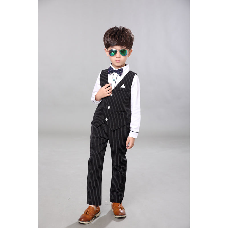 c4102584c2ad0 ActhInK 2017 New Boys 3PCS Vest+Shirt+Pant Striped Solid Formal Dress Suit  with Bowtie & Belt