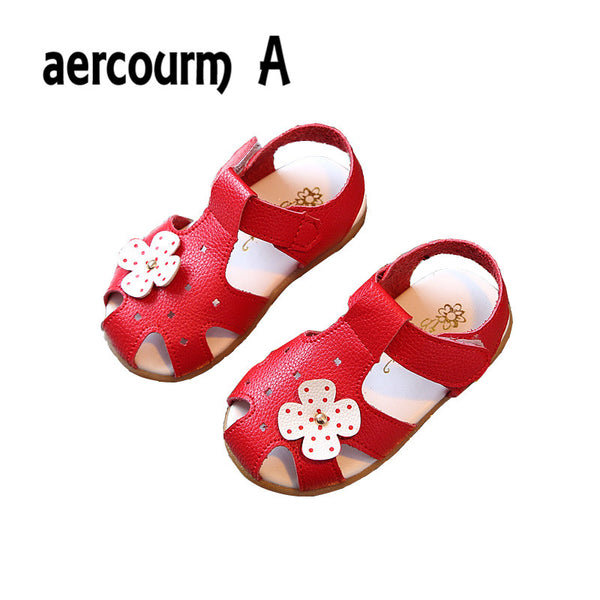 Aercourm A 2018 girls Summer Sandals New Baby Sandals Flowers Girls flat Sandals Children Summer Shoes Solid White Red Pink