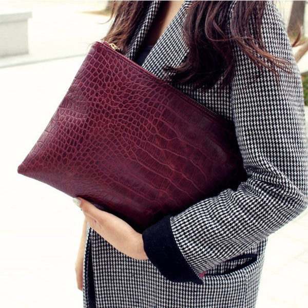 Aliwood Famous Brand Bag Women Day Clutches Alligator Crocodile Leather Bag Envelope Bags Women
