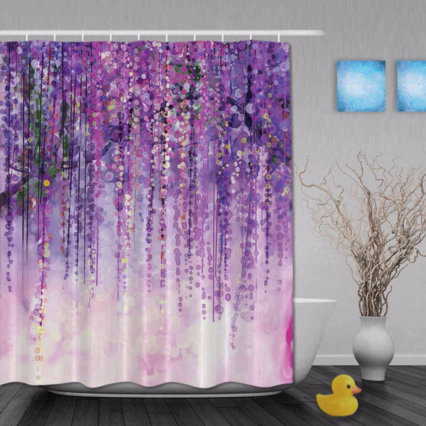 Art Watercolor Drawing Floral Waterfall Shinny Spring Shower Curtains Ployester Waterproof Fabric