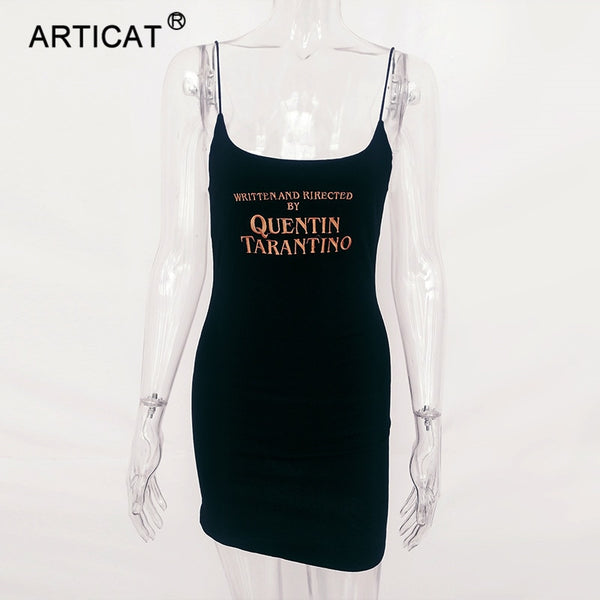 Articat Black Letter Embroidery Bodycon Sexy Summer Dress 2018 Spaghetti Strap Backless Women