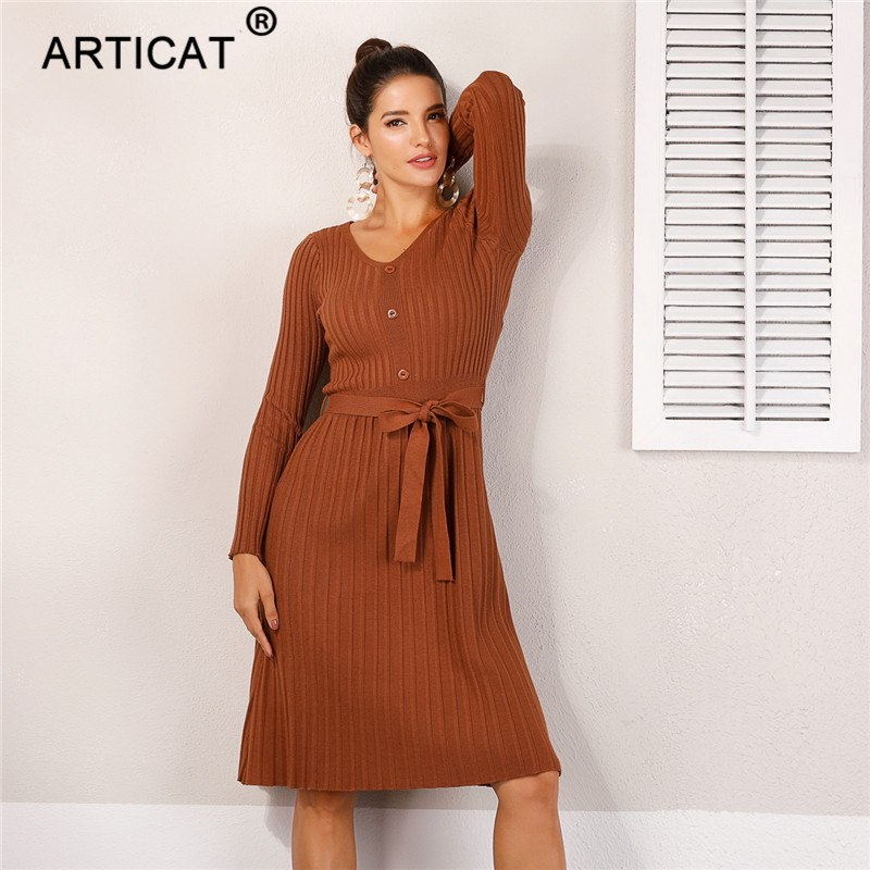 696f2e958d3 Articat Elegant Kintted Sweater Dress Women Pullovers Cotton Lace Up ...