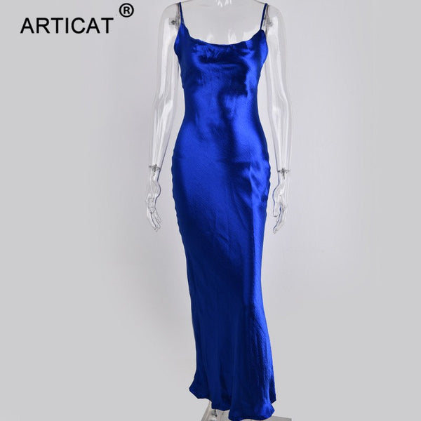 Articat Glod Satin Lace Up Sexy Party Dress Women Strap Backless Silk Long Dress Elegant Club