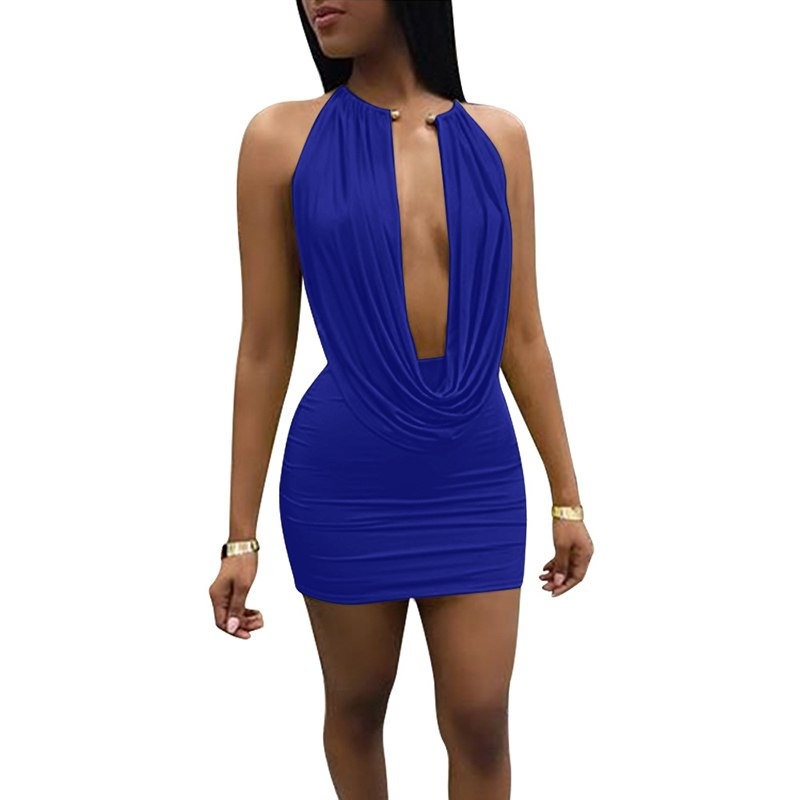 Articat Halter Deep V Neck Bodycon Dress Draped Backless Womens Sexy Skinny  Party Dresses 2018 2b0818bafb