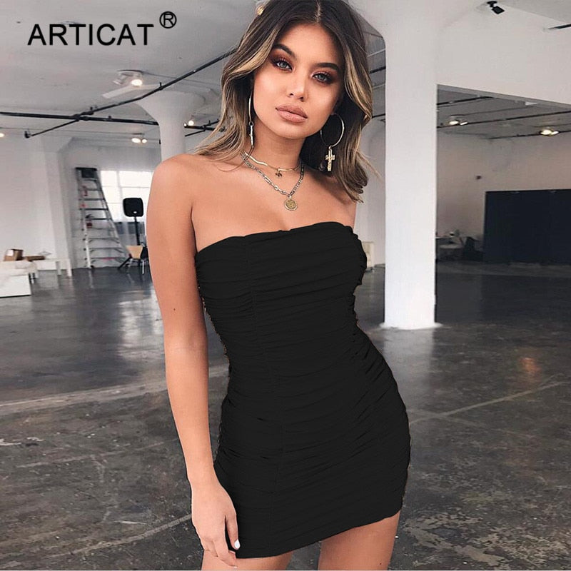 34cb383b24fc Articat Off Shoulder Women Summer Dress 2018 Sexy Strapless Elastic ...
