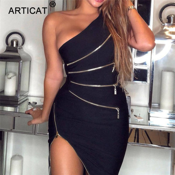 Articat One Shoulder Zipper Sexy Bodycon Dress Women Autumn Sleeveless Split Skinny Party Dress