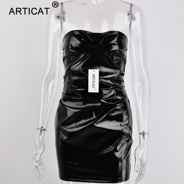 Articat Sexy Black PU Leather Women Dress 2018 Strapless Backless Club Bodycon Pencil Dress Casual