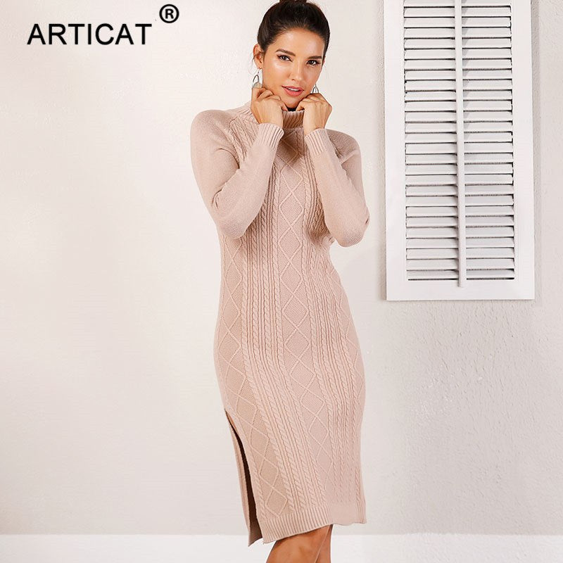 42e5719c4e92 Articat Sexy High Split Turtleneck Knitted Sweater Dress Women ...