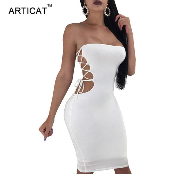 Articat Sexy Hollow Out Bandage Bodycon Dress Women Strapless Sleeveless Midi Summer Dress Female