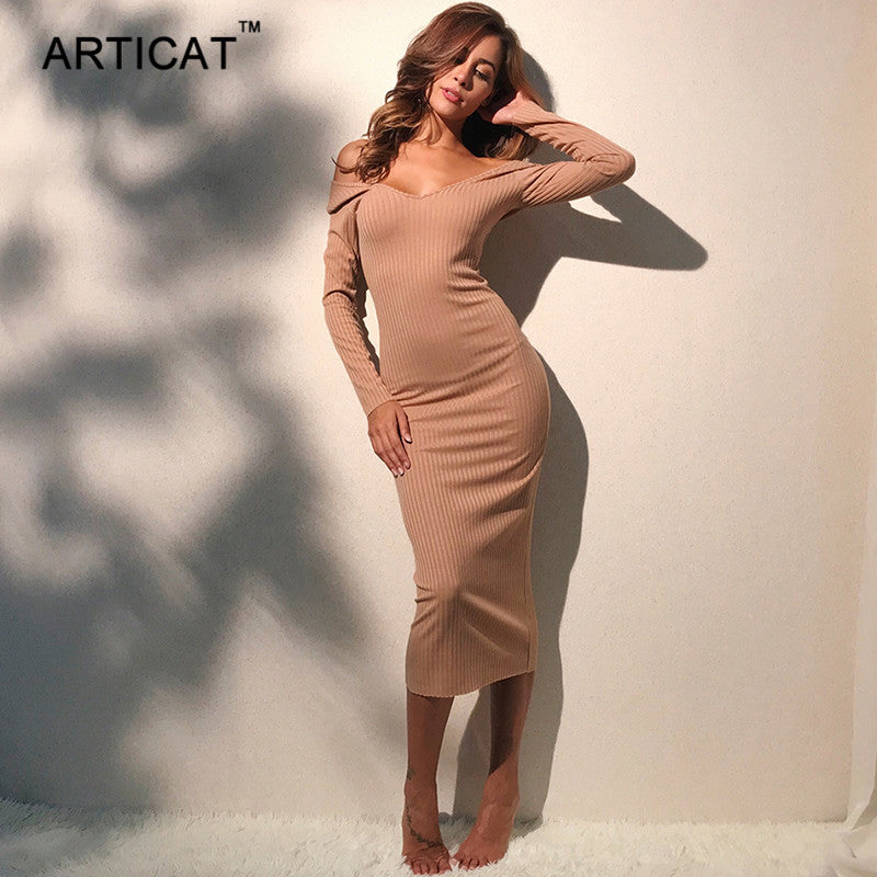 4eedce135522 Articat Sexy Off Shoulder Dress Women Autumn Winter V Neck Long Sleeve  Cotton Long Dress Vestidos Casual Bodycon Bandage Dress – Beal