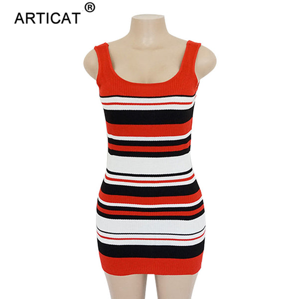 Articat Striped Sexy Knitted Sweater Dress Women Sleeveless Bodycon Pencil Dress Autumn Winter 2018