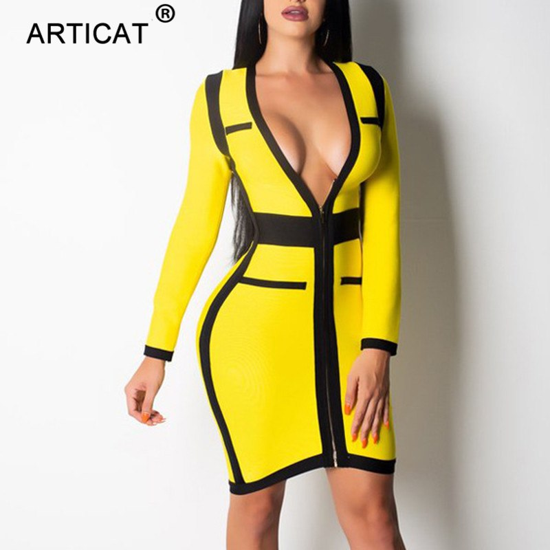 4d3330d92073 Articat Yellow Deep V Neck Sexy Bodycon Dress Women Long Sleeve Zipper  Short Bandage Autumn Winter