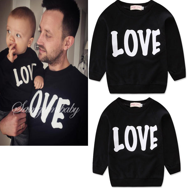 Autumn Mother and Daughter Clothes Family Look Kids Parent Child Outfits Cotton Black Long Sleeve Alphabetic Printing Pure Color