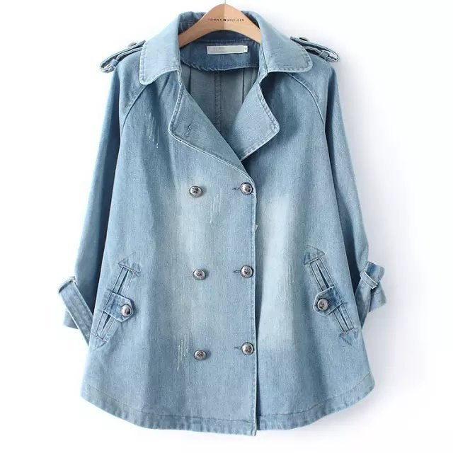 6feff5d117c Autumn Winter new women Plus Size Denim Jacket Women Outwear 3 4 Sleeve  Turn-down Collar coat Double Breasted loose denim Coat – Beal
