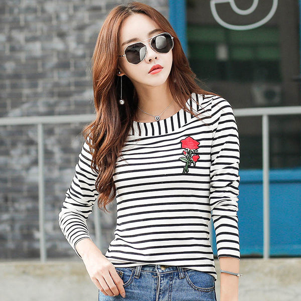 Autumn Women Striped T-shirt Long Sleeve Embroidery Floral T shirt For Woman Top Womens Tee Shirt Femme Clothes  Camisetas Mujer