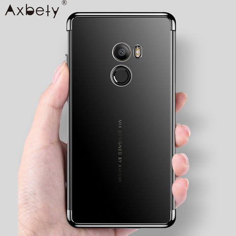 Axbety For Xiaomi Mi Mix 2S Cover Luxury Crystal Clear Case For Xiaomi Mi Mix 2 Case Chrome Gold Slim Transparent Silicone Cases