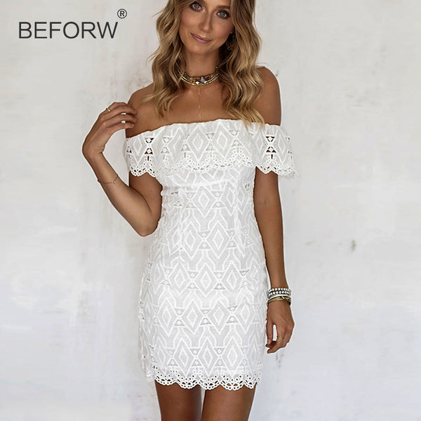 e3799e20d40 BEFORW 2018 New Summer Women White Lace Stitching Dress Off Shoulder  Strapless Bodycon Dress