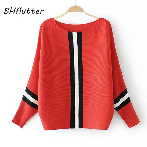 BHflutter Autumn Winter Sweater and Pullover Women Batwing Striped Knitted  Sweaters Jumpers Casual