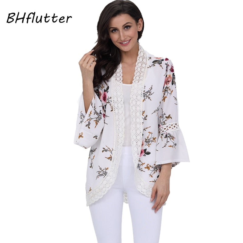 bc82c8356af9d0 BHflutter Women Tops Summer 2018 New Fashion Floral Print Casual Chiffon Blouse  Shirt Open Stitch Boho Style Lace Blouses Blusas – Beal | Daily Deals For  ...