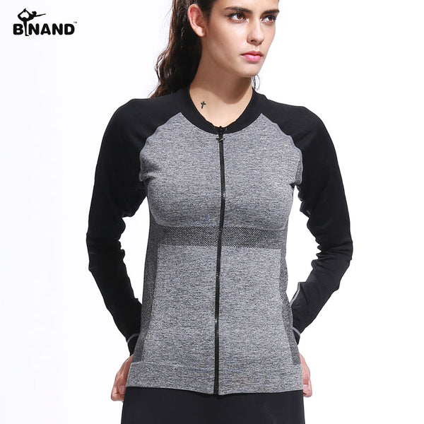 BINAND Women Running Zipper Sport Jacket Quick dry Long sleeved Cloths Breathable Gym Sweatshirt Fitness Zipper Yoga Shirts