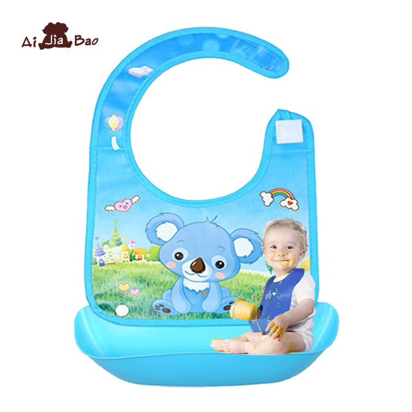 Baby Bibs Burp Children Cartoon Eating Feeding cloths Meals Pocket Silicone Bib Waterproof Infant Newborn Food Bib Apron