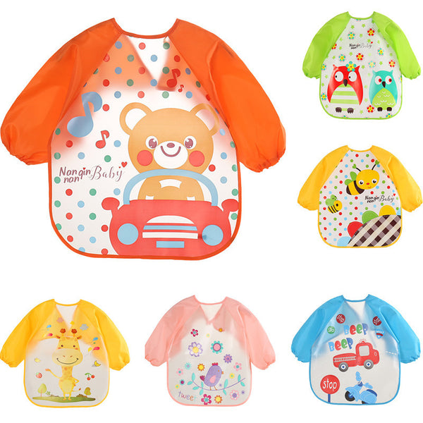 Baby Bibs Waterproof Burp Cloths Lunch Feeding Apron Boy Girl Toddler Long Sleeve Bib Kids Cute Cartoon for 1-3 Years