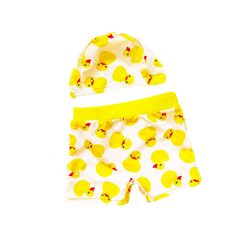 bd92b0bf14f70 Baby Boy Swimsuit Kids Boys Swimming Trunks Yellow Blue Swimwear + Hat In One  Set Suits Toddler Baby Summer Beach Bathing Suit – Beal | Daily Deals For  Moms