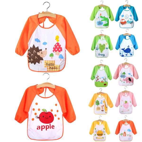 Baby Feeding Bibs Waterproof Cloth Apron Smock Bib Cartoon Long Sleeve Toddler Kids Burp Cloths Children Dinner Eating Accessori