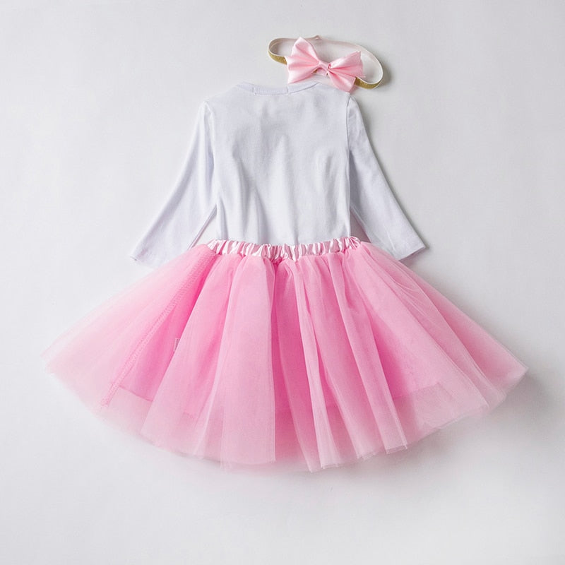 2ba74ad807ec5 Baby Girl Clothes 1 Year Old Outfit One Birthday Sets Little Girl Party  Wear Baby Romper Tutu Skirt