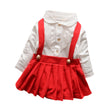 Baby Girl Dress Outfit Lace Dress Layered Fake Two Piece Long-Sleeved Strap Dress