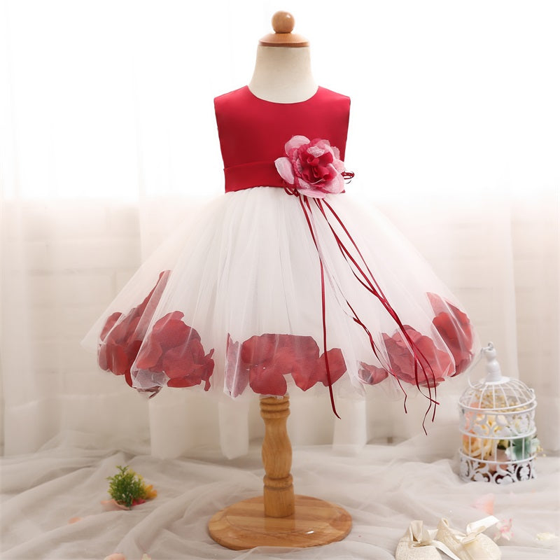 d8381a0f06 Baby Girl First Birthday Outfits Flower Girl Party Wear Dress Petals ...