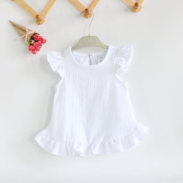 067725565 Baby Girl Shirts for Children Kids Clothing Shirts Dress Ruffle Sleeve  Summer Girls Blouses Tops Linen Cotton Lace Casual Blouse – Beal | Daily  Deals For ...