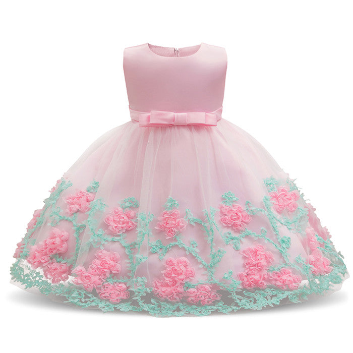edfc0846677c Baby Girls Christening Gowns Kids Summer Floral Dress Pink Party Gowns  Toddler Girl 1st Birthday Clothes Bebes Flower Frocks 24M – Beal