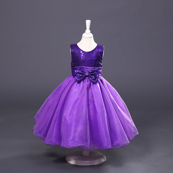 Baby Girls Evening Gown Sleeveless Dress for Children Christmas Wedding Party Purple Red Silver Big Kids Princess Dress FH436