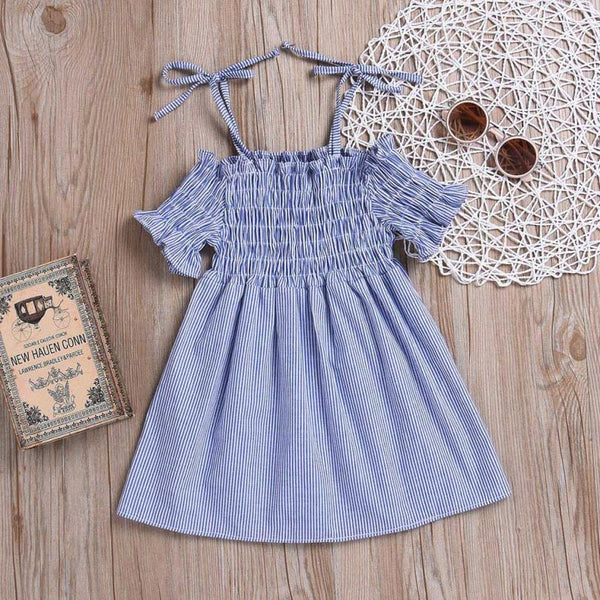 Baby Girls Infant Kids Dress Strap Striped Clothes Sundress Casual Dresses Off-shoulder ruffles Party Gown Formal Dresses