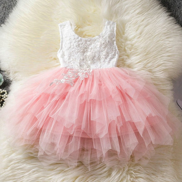 Baby Girls Party Frocks Dress Lace Cake Layered Dresses Wedding Birthday Children Princess Party