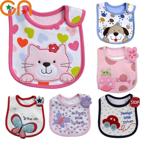 Baby cotton bibs Girl Boy Cartoon waterproof bib Kids Dinner Feeding Children apron Infant
