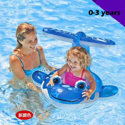 Baby pool seat 0-3years sunshade baby float Sunscreen swimming ring for baby plastic dolphin infant swim seat inflatable donut