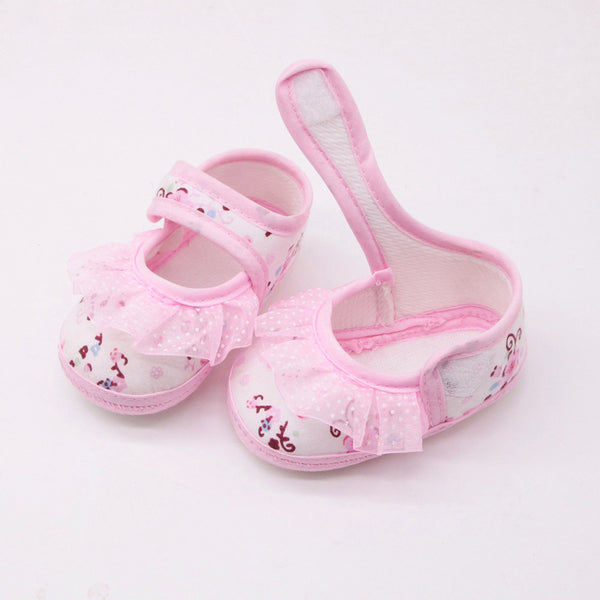 Baby shoes girls First Walkers Newborn Baby Girls Soft Shoes Soled Lace Floral Printed Footwear