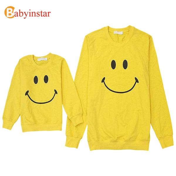 Babyinstar Father And Son Clothes Fahion Style Smile Face Printed Family T Shirt 2018 New Family Matching Outfits