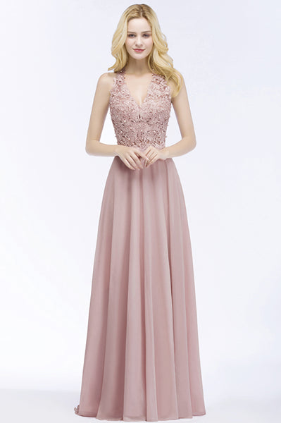 Babyonline Sexy V Neck Lace Appliques Long Pink Evening Dresses 2018 Pearls Backless Party Dresses