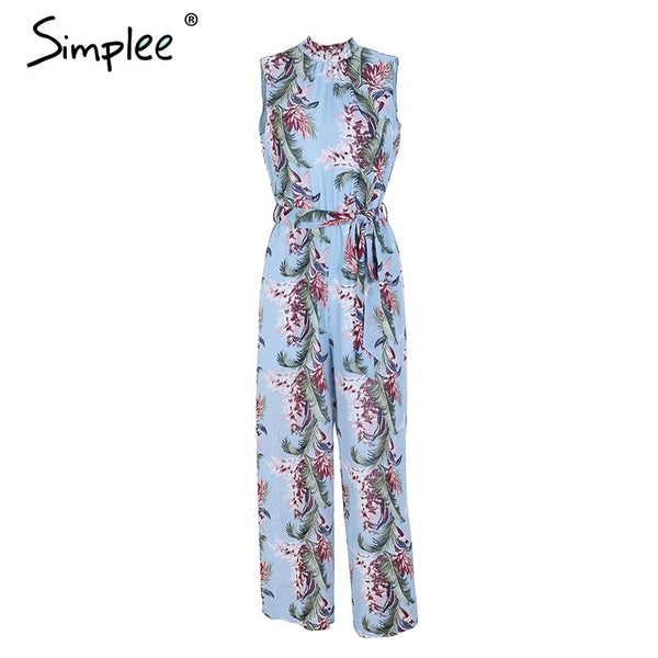 Backless boho print long jumpsuit romper women High waist loose casual overalls 2018 spring