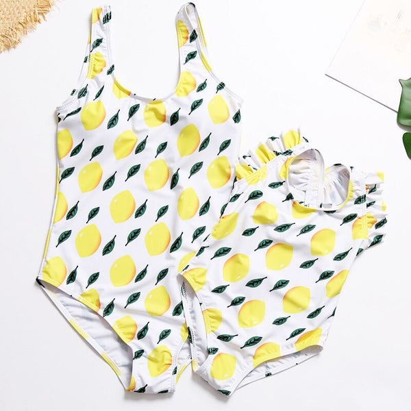 Beach Mother and daughter swimsuit bikini Cute lemon swimsuit Bathing Family look Matching Swimming Suits Mommy and Me Clothes