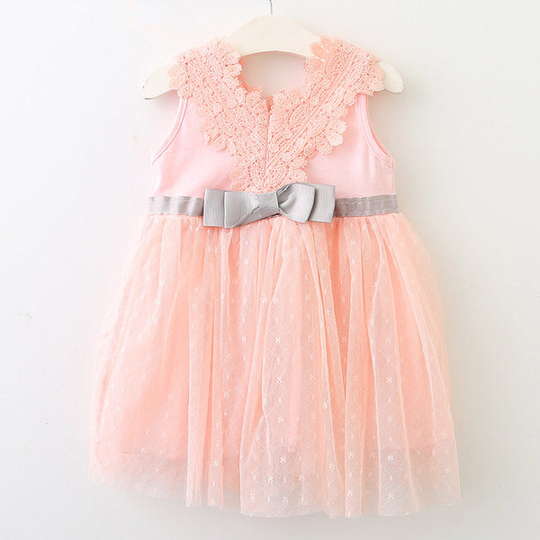 Bear Leader Baby Dress 2018 New Summer Bohemian Style Lace Bow Patchwork Tutu Dress For 0-2 Years Old Kids Dress For Party